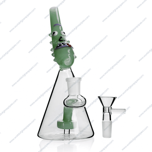 Pickle Collection 1 | Light Green | 7 6 inches Perk Bong |  WorldOfGlassPipes com