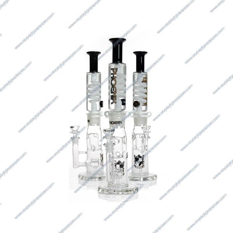 14 Inch Black and White Glycerin Jet Perc Glass Piece