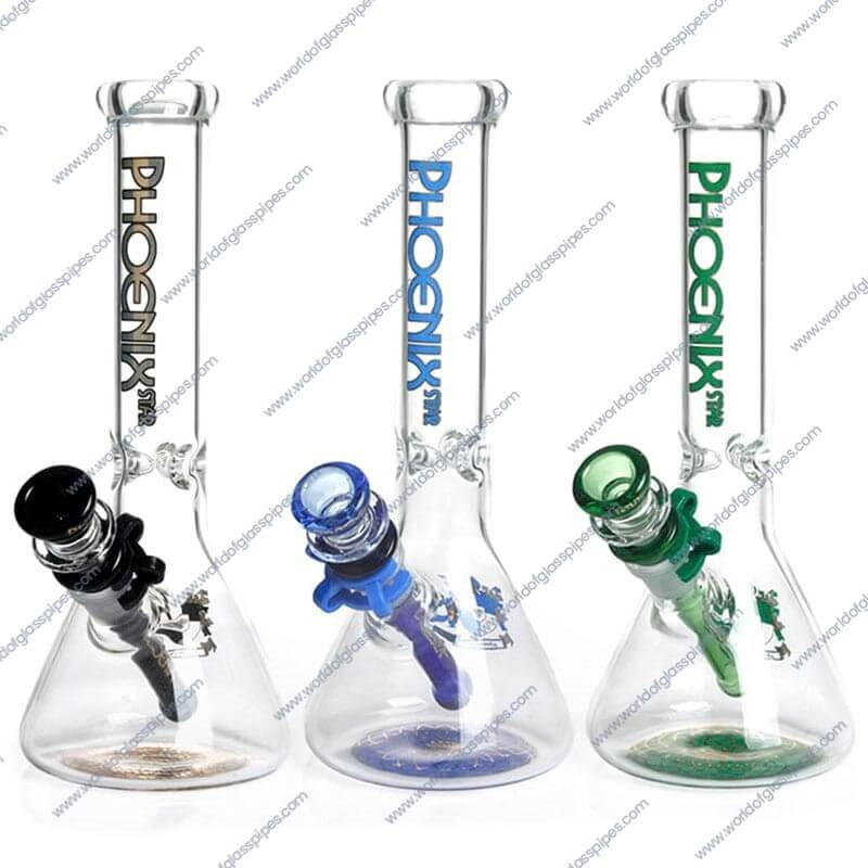 """10/"""" GLASS WATER PIPE WITH ICE HOLDER WHITE"""