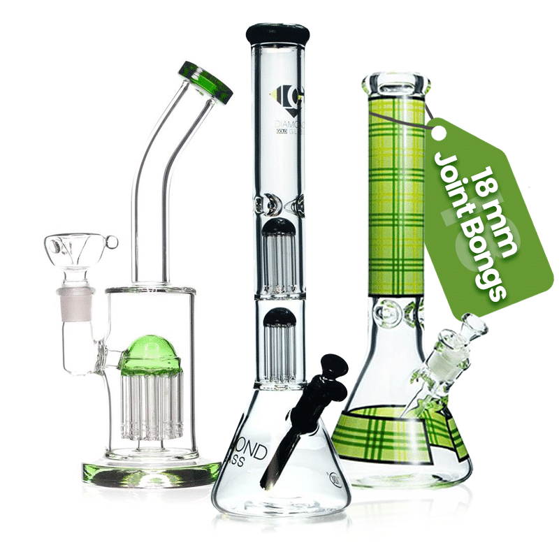 Here's the big one! We stock a wide range of bongs in the huge 18mm joint, which can handle the biggest bowls around.  The size of the joint generally corresponds to the size of the bong, with 18mm joints most commonly being seen on super tall bongs that are 16″+. They're also quite common on the bigger dab rigs, and generally favored by veteran stoners!