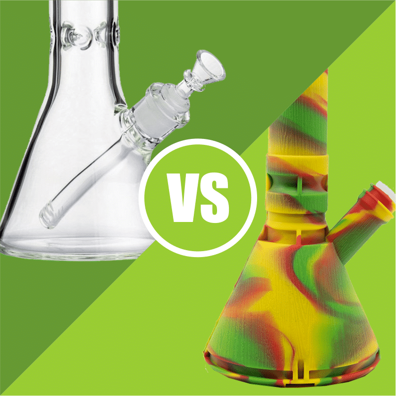 Glass tends to be favored as the more aesthetically pleasing bong material, but silicone is more resistant to drops and breakages. Therefore, silicone is preferred as a party or portable bong, whilst glass tends to be a more home-bound bong.