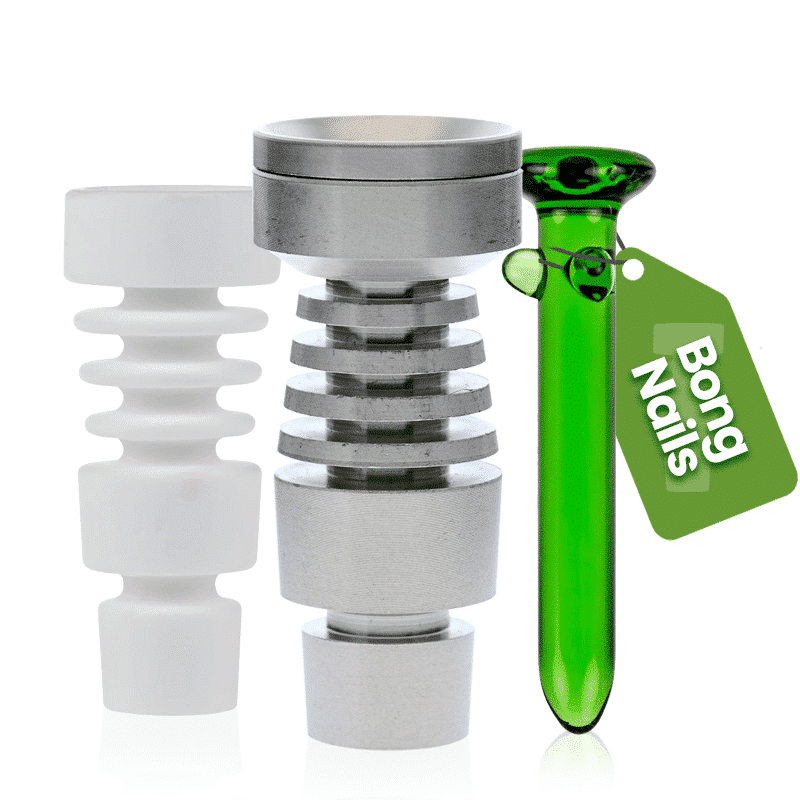 Bong nails are used with rigs for smoking concentrates. They allow you to heat the head of the nail before placing your concentrate on it, which makes it vaporize.  Bong nails come in a wide variety of shapes, sizes, and materials, and often the best one for you will depend on the type of concentrates you favor and the amount you smoke. We stock bong nails in durable glass, ceramic, and even durable metals such as steel.